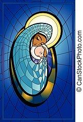 Illustration of Madonna and infant Jesus.