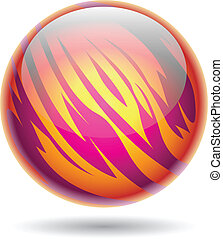 Magenta and Yellow Planet Sphere