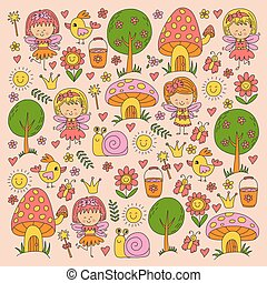 Illustration of magic forest with Fairies Doodle pattern