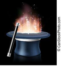 Illustration of magic hat and magic wand