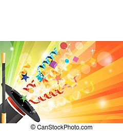 illustration of magic hat with stick on abstract background