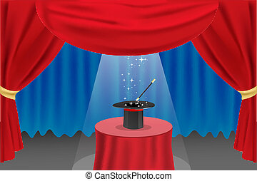 magic show on stage - illustration of magic show on stage