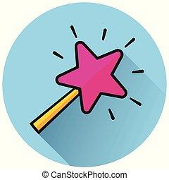 magic wand circle blue icon