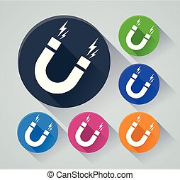 magnetism circle icons with shadow - Illustration of...