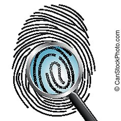 Magnifying glass over a finger