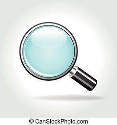 magnifying icon on white background