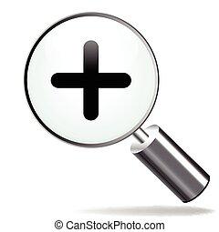 illustration of magnifying zoom plus icon on white background