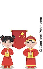 Illustration of male and a female Chinese on white background
