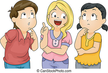 Kids Thinking - Illustration of Male and Female Kids ...