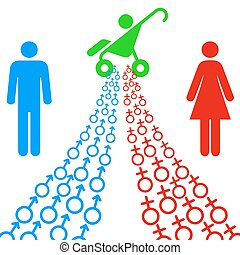 illustration of male and female sex symbols tend toward the goal.