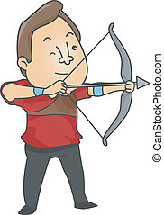Male Archer - Illustration of Male Archer aiming a bow and...