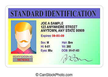 Illustration of male standard identification card isolated on white background