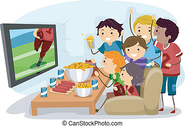 Watching Football - Illustration of Male Teens Watching...