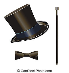 Illustration of male wardrobe items cylinder, reed and the bow tie