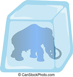 Illustration of Mammoth in ice cube