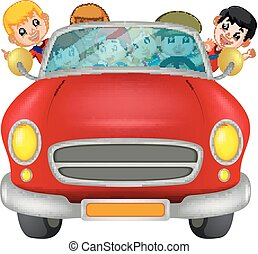 Man and family driving a car on the road