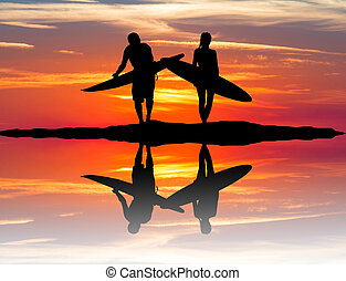 man and girl with surf