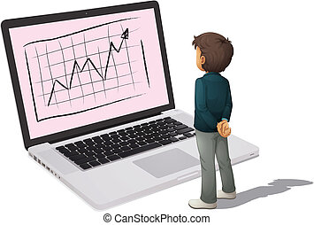 man and laptop - illustration of man and laptop on a white ...