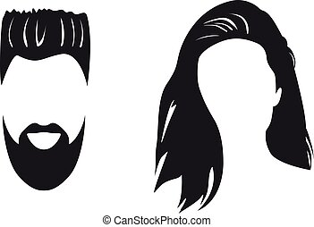 Man And Woman Silhouette Face To Face Vector Illustration