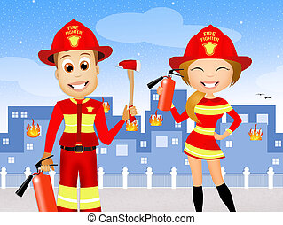 man and woman firefighters