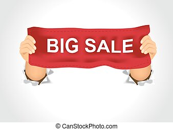 man holding a big sale banner in his two hands