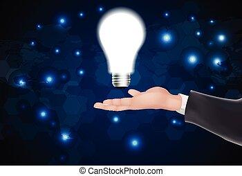 Man holding a glowing lightbulb