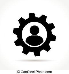 man in gear icon concept