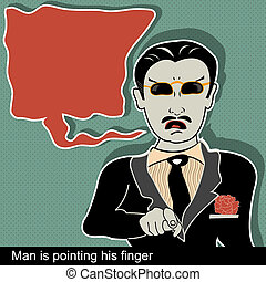man is pointing finger