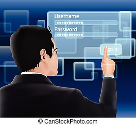 Man log-in and password - Illustration of Man log-in and ...