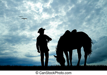 man with horse silhouette