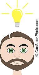 Isolated vector illustration of man with lightbulb (idea symbolization)