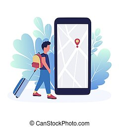 illustration of man with luggage on the background of the navigator. Colorful flat vector illustration.