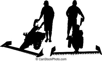 mower - illustration of man with mower