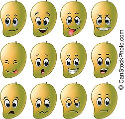 mango with different emoticons