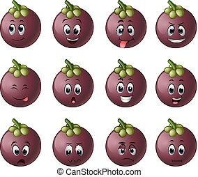 mangosteen with different emoticon