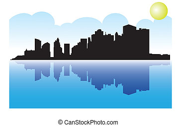 Manhattan with reflection - Illustration of Manhattan with...