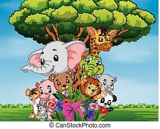 many animal hiding behind a tree