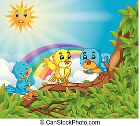 many bird on the tree branch with rainbow scene