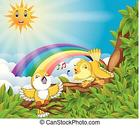 many bird on the tree branch with rainbow scene