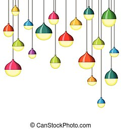 Illustration of many colorful lamps