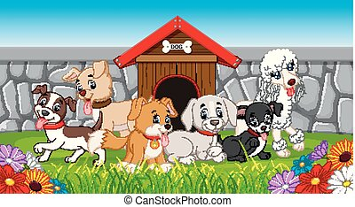 many pet dogs in the park - illustration of many pet dogs in...