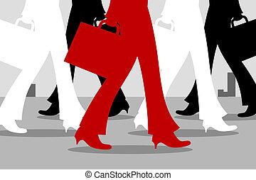 walking feet - illustration of many walking feet
