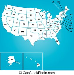Illustration of Map of the USA with name of each states