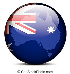 Illustration of  Map on flag button of Commonwealth of Australia