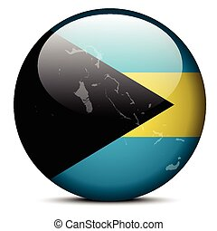 Illustration of Map on flag button of Commonwealth of The Bahamas