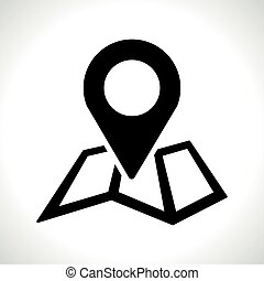 map pin icon on white background