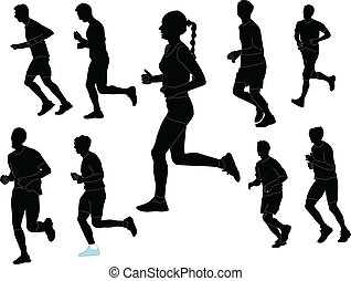 marathon collection - vector - illustration of marathon...