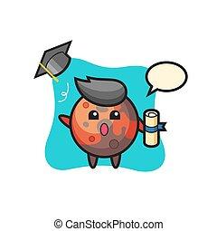Illustration of mars cartoon throwing the hat at graduation