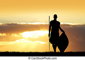 Masai at sunset - illustration of Masai at sunset