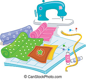 Quilting - Illustration of Materials Used in Quilting